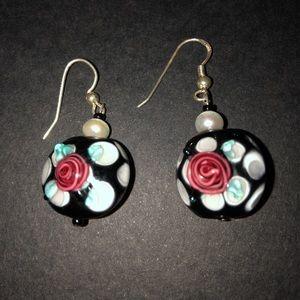 Jewelry - Glass bead and pearl earrings.